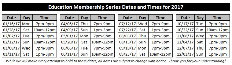 2017 Education Membership Class Dates